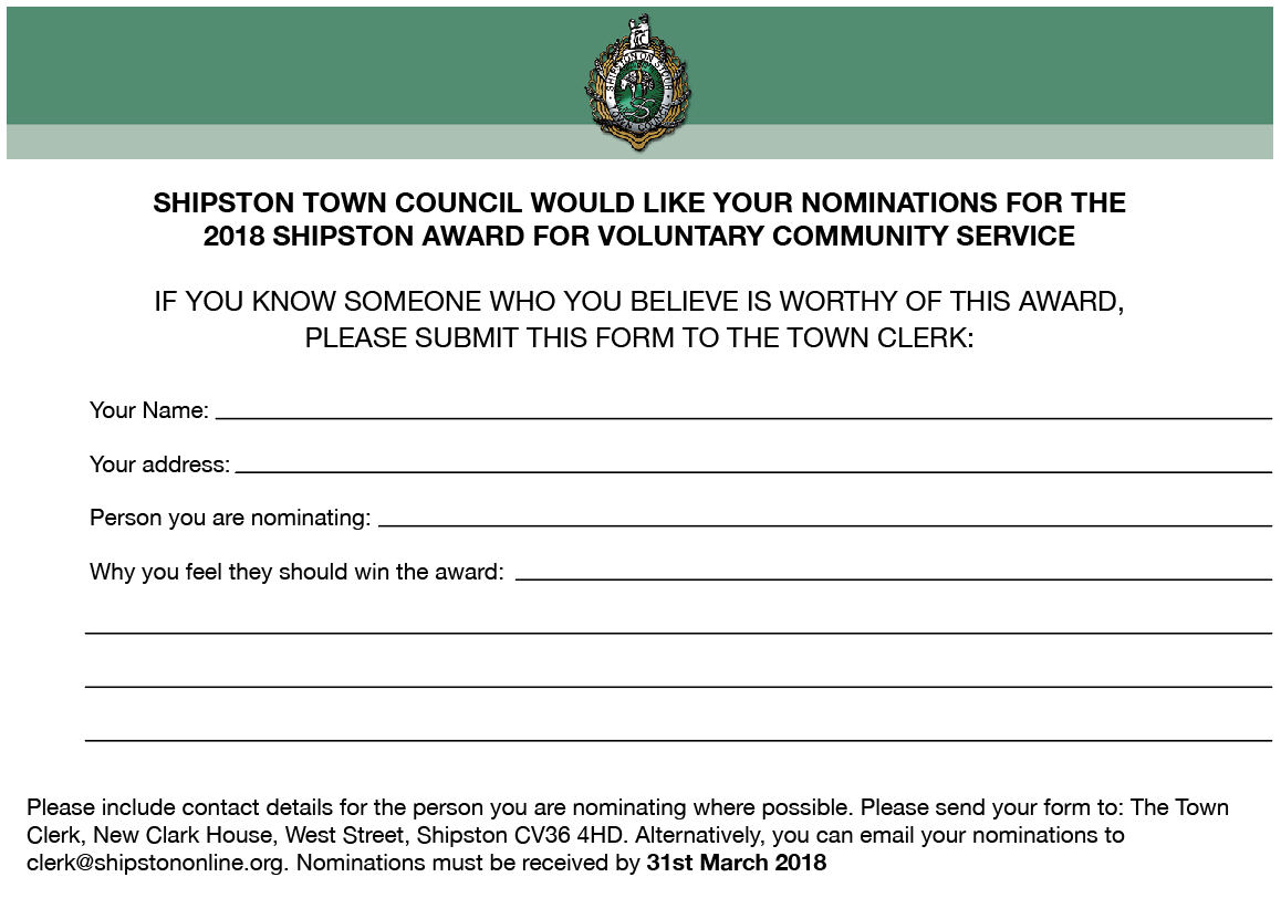 Nominations now sought for the Shipston Community Award - STC